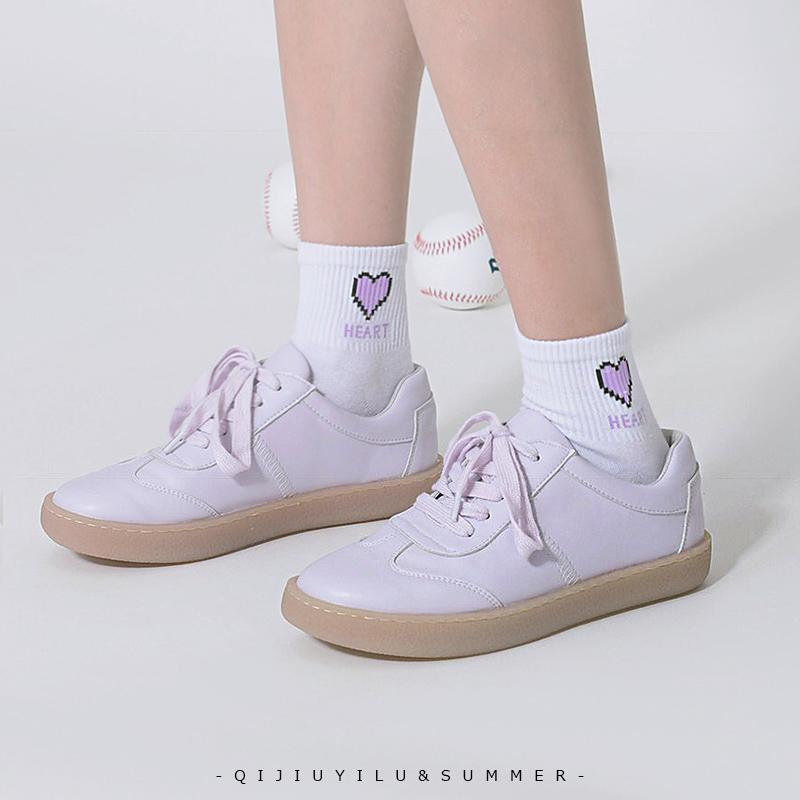 七九一鹿文艺学院小白鞋女2020春新款系带平底单鞋休闲板鞋日系鞋