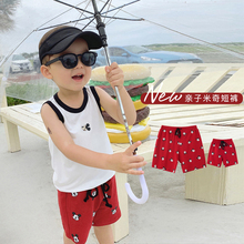 Chen Chen Mom Boys'Clothes Disney Fathers and Sons' Clothes Mickey Printed Shorts Summer Trendy Children's Leisure Trousers