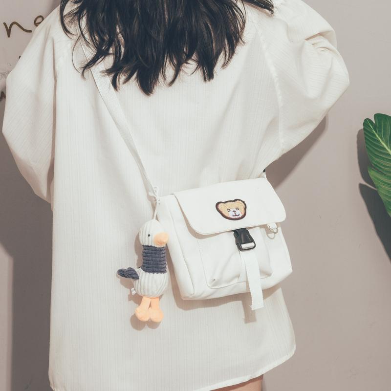 韩国ins古着感帆布包包女2020新款日系可爱卡通学生少女心斜挎包