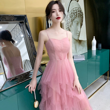 Evening dress fairies banquet temperament celebrities birthday party Sling Dress dress can usually wear short style