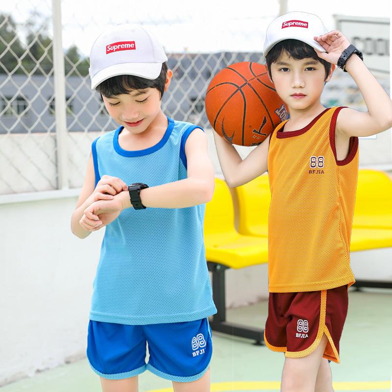 男童背心套装2021夏装新款儿童运动服小学生网眼速干衣宝宝球服
