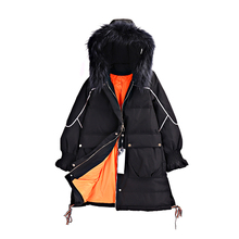 Synchronized sale of mink super-large fur collar and cap A-shaped warm down jacket in anti-season silk market: damp 1.1kg