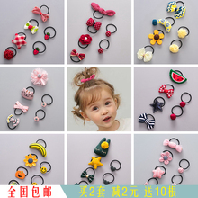 Korean version of handmade cloth girl's head rope hair ornament baby little hair ring not to hurt children hair adorn lovely cartoon rubber band