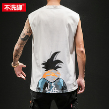 Fat Japanese Cartoon Wide Shoulder vest Male Large Size Loose Summer Leisure Basketball Shoulder Chao Tide Sleeveless T-shirt