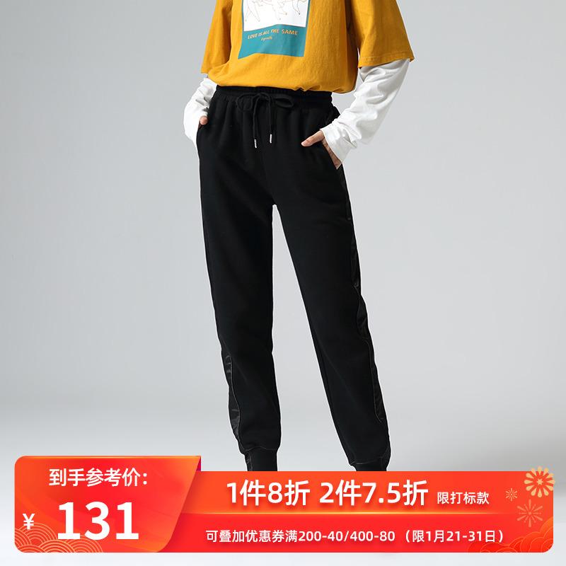 【清仓】初语19冬季新款拼接运动宽松直筒黑色加绒束脚女休闲裤