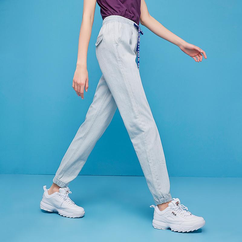 初语浅色牛仔裤抽绳束腰薄款松紧腰显瘦长裤哈伦裤小脚九分裤