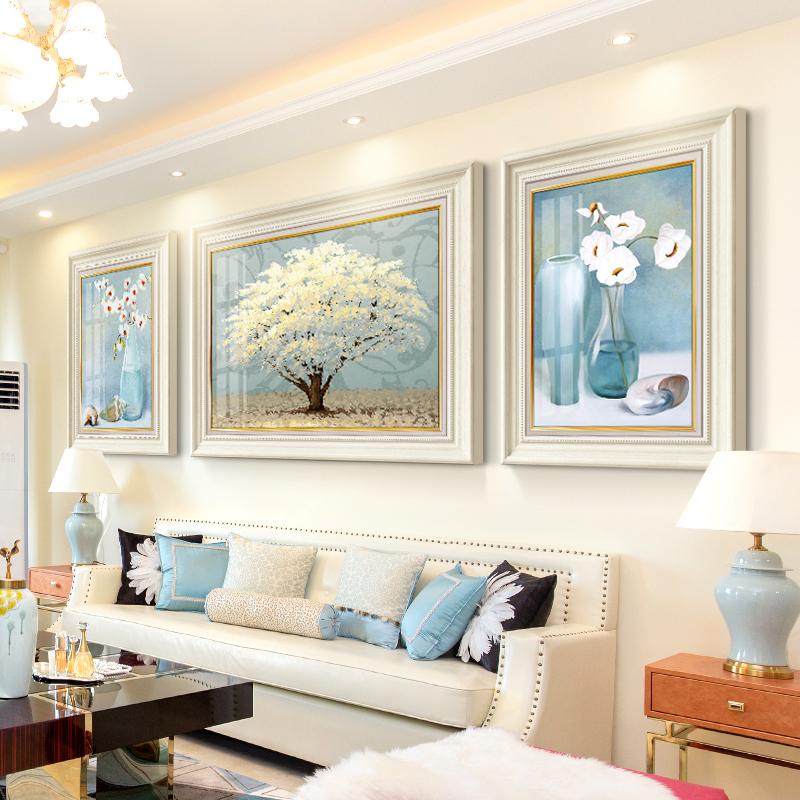 現代輕奢客廳裝飾畫美式沙發背景墻掛畫歐式玄關大氣簡約三聯壁畫