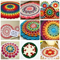 Handmade yarn crochet knit coaster insulation pad mandala flower piece 9 a group of E electronic graphic