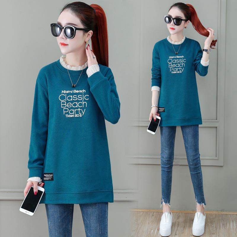 假两件长袖t恤女秋冬2020新款中长款韩版宽松加绒加厚打底衫上衣