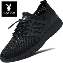 Playboy Men's Shoes Summer Air-permeable Mesh Shoes Men's Sports Leisure Mesh Black Hollow-out New Type of Running in 2019