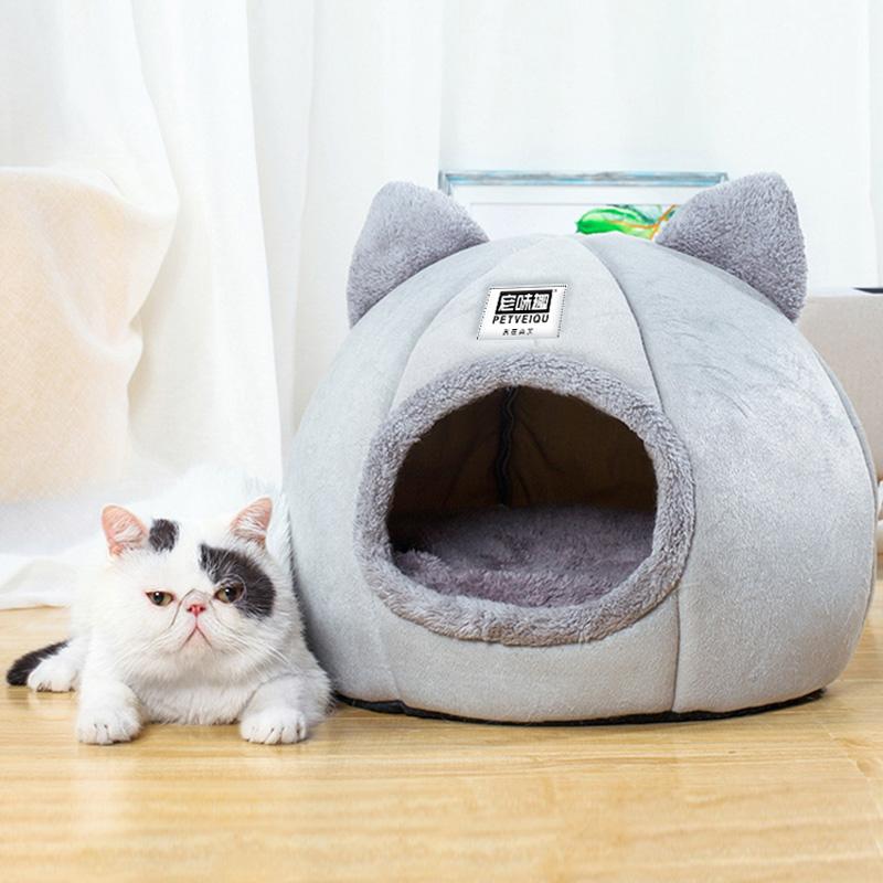 宠味趣猫头窝M,L号冬季保暖可拆洗窝封闭式网红四季通用猫咪用品