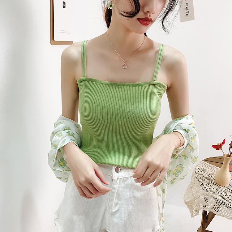 吊带背心女冰丝纯色ins韩范港风修身打底衫显瘦外穿女吊带小背心