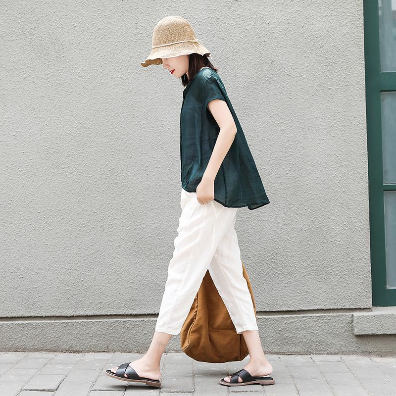 时尚棉麻七分裤女薄款休闲裤宽松百搭夏季宽松萝卜裤显瘦白色裤子