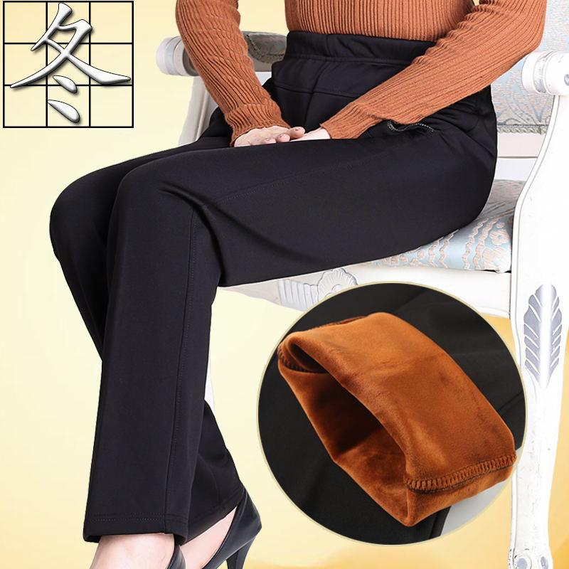 秋冬装中老年人女裤松紧腰加绒加厚妈妈裤子女高腰宽松婆婆奶奶装
