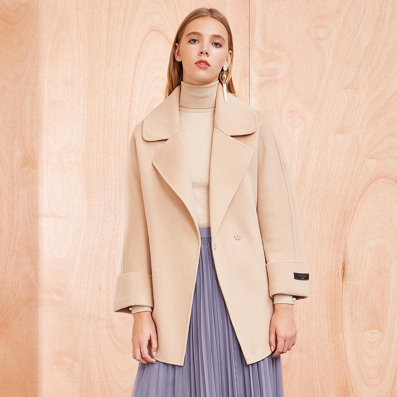 毛呢女纯色宽松时尚西装领中长款羊毛呢外套