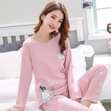 Ladies'pajamas, long-sleeved trousers, autumn and winter, pure cotton, spring and autumn youth cotton household suits, thin casual size