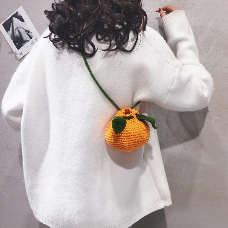 网红小包包女包新款2020毛线可爱橘子水桶包个性百搭单肩斜挎包潮