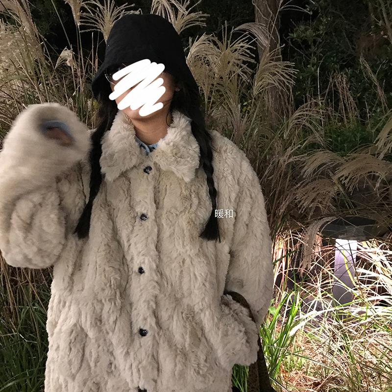 王少女的店 仿皮草外套 冬季仿兔毛毛绒绒毛茸茸短款韩版宽松外套