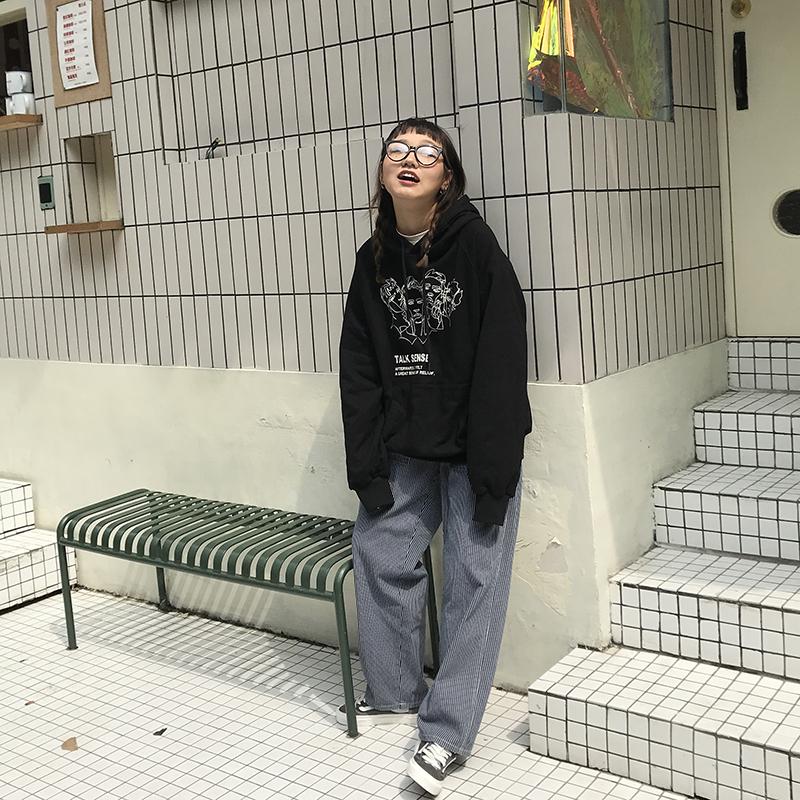 王少女的店 2019秋冬新款条纹垂坠感七分阔腿裤宽松直筒休闲裤子