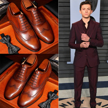 British Block carved men's shoes bridegroom's wedding shoes leather brown Oxford shoes business suit leather shoes man