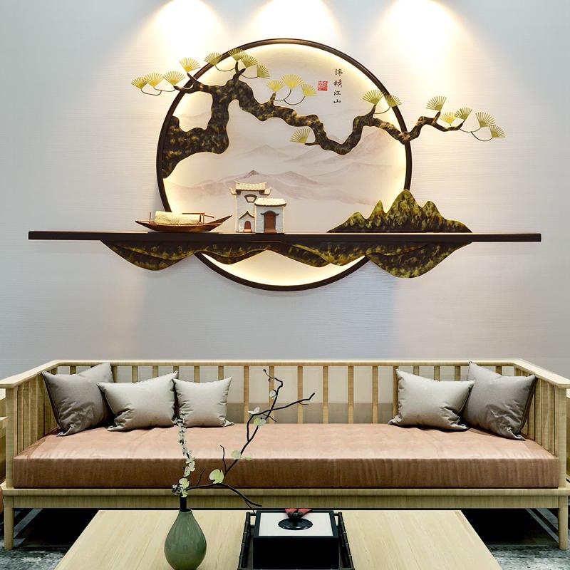 新中式客廳玄關茶室書房壁飾掛件背景墻飾山水掛畫墻面創意置物架