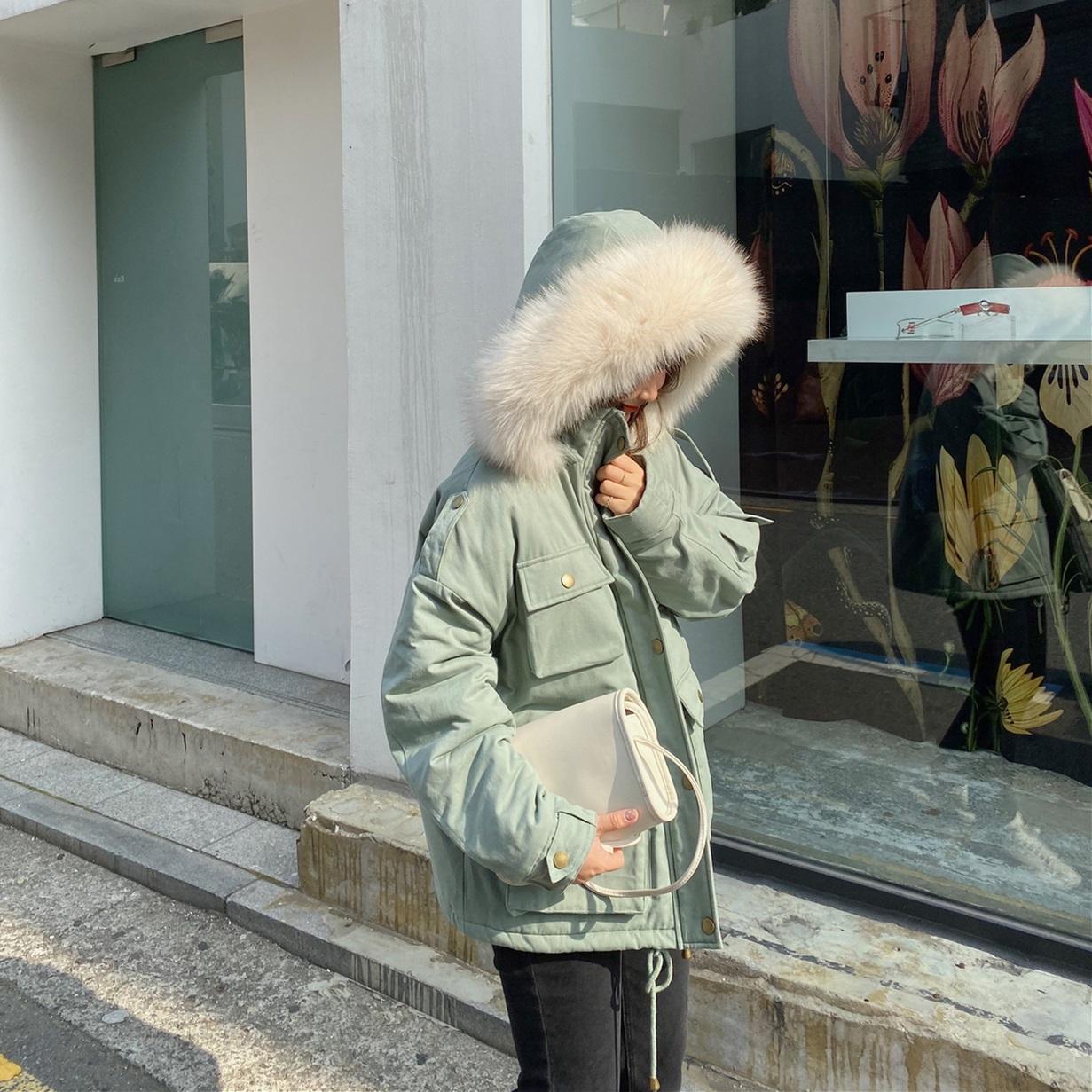 林诗琦冬季工装羽绒棉袄2019新款韩版宽松外套中长款厚棉衣棉服女