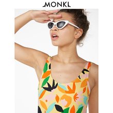 MONKI 2009 Summer New Hawaiian Printed Colour Stripe Connected Bikini Swimming Suit 0693417