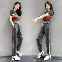European Station Ice Silk Sports Suit Women Summer 2019 New Fashion, Slim and Leisure Two-piece Suit of European Goods