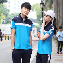 Summer junior high school uniform high school students class uniform custom-made men and Women Sportswear cotton short-sleeved trousers suit Korean version