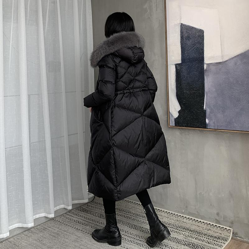羽絨服女中長款過膝2020年新款加厚白鴨絨大毛領外套反季清倉特賣