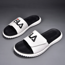 Men's Slippers Trend Summer 2019 New Genuine Leather Men's Trend Fashion One-word Slippers Outside Wear Soft Bottom Outdoor Cold Slippers