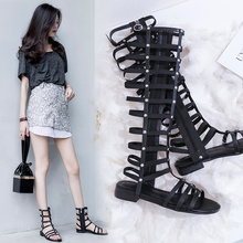 Net Red Summer High Size Sandals Fairy Wind Flat-soled Shoes Long, High Cylinder, True Leather Cross-strapped Roman Sandals