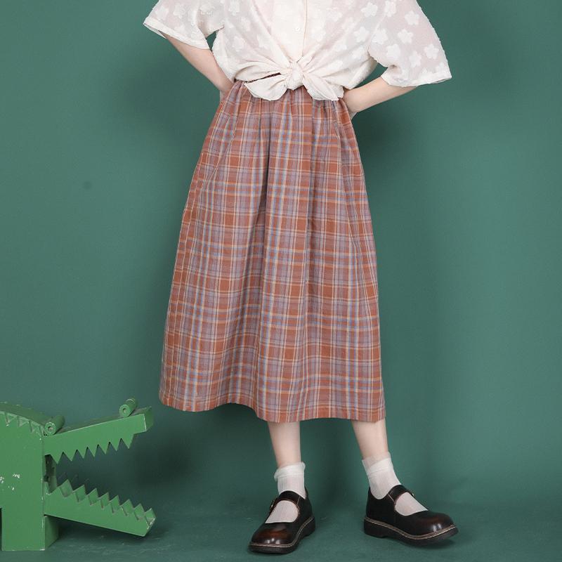 小葱良裁原创复古格子半身裙少女2021夏季学生高腰休闲显瘦a字裙