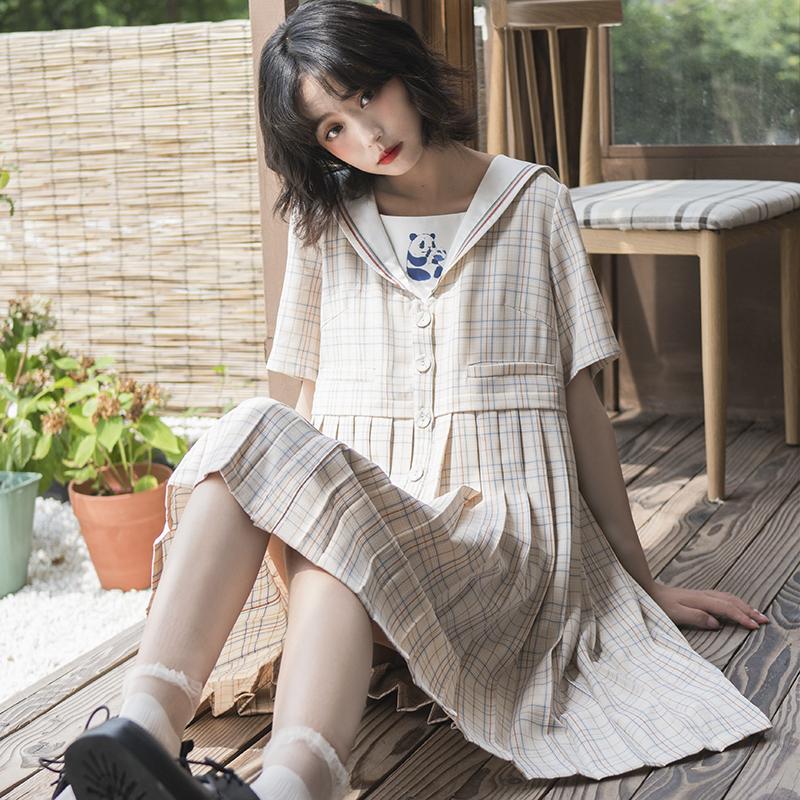 小葱良裁原创设计可爱熊猫格子连衣裙女夏日系学院风海军领百褶裙