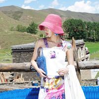 金文聪原创自制 鱼人饮月 夏季中国风印花织带短款吊带背心女