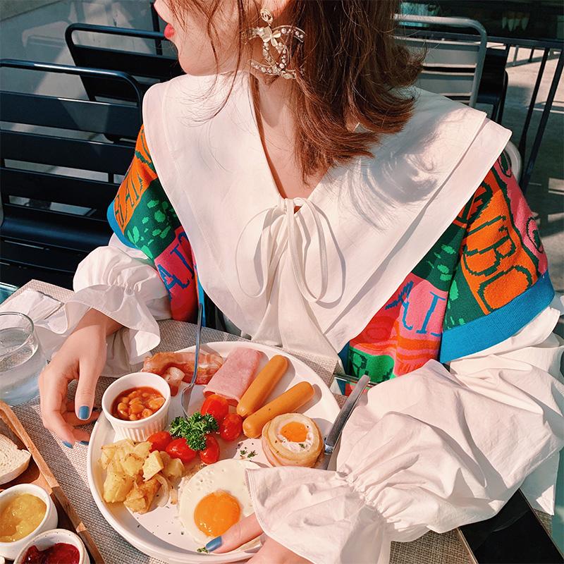 【地球店】衬衫连衣裙子两件套套装裙2020年秋季新款时尚流行甜美