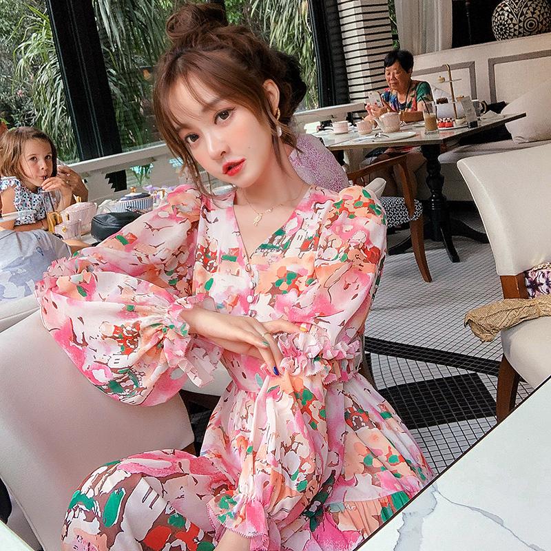 粉色泡泡袖印花连衣裙冬小清新长裙到脚踝木耳边超长气质仙气森系