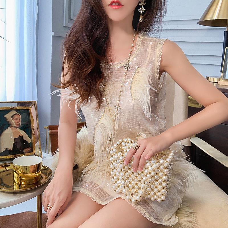 aviva地球店 高贵气质 高密度重工亮片连衣裙女冬季显瘦背带裙子