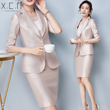 Summer small suit women's thin style new Korean version of fashionable high-end professional suit women's suit skirt in 2019