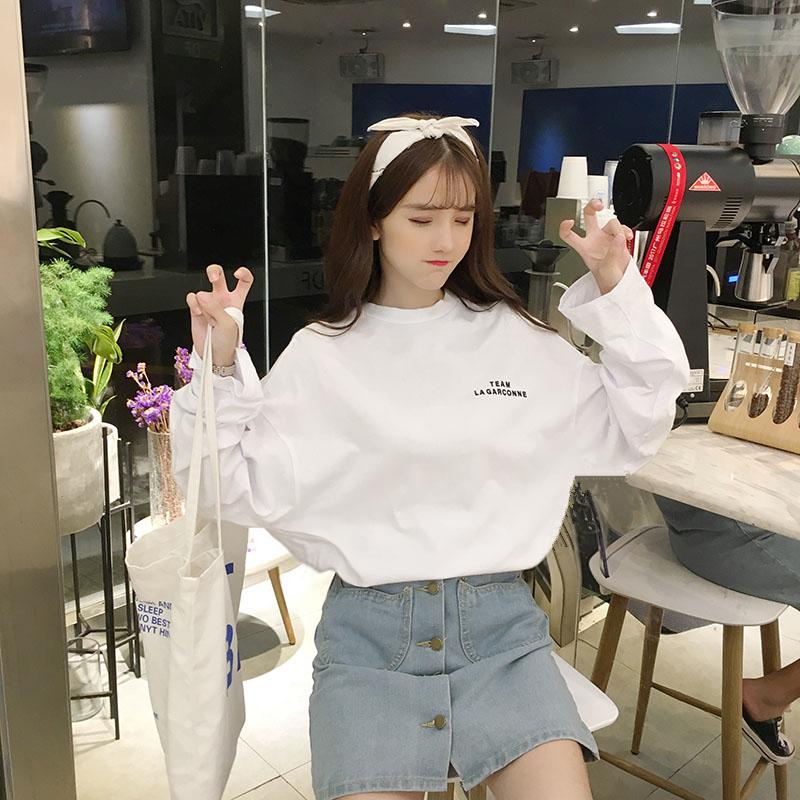 春秋装韩版ins潮中长款上衣长袖女打底衫学生宽松超火cec白色T恤