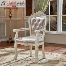 European-style armchair, desk and chair, modern simple net, red solid wood backrest chair, family leisure stool, hotel dining chair