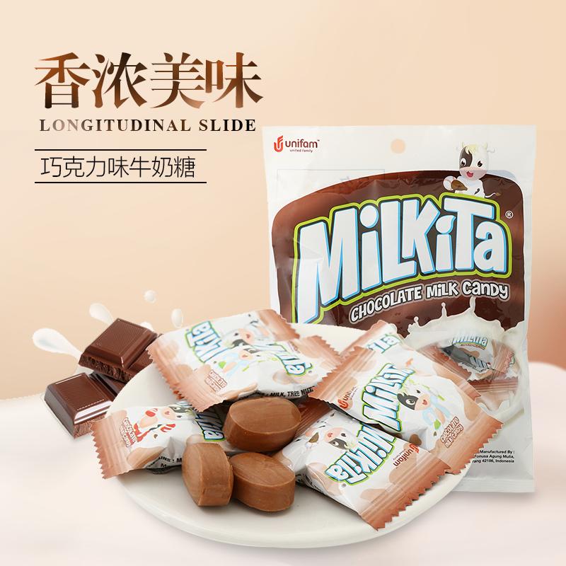 印尼進口Milkita優你康巧克力味牛奶糖80g 辦公休閒糖果零食品