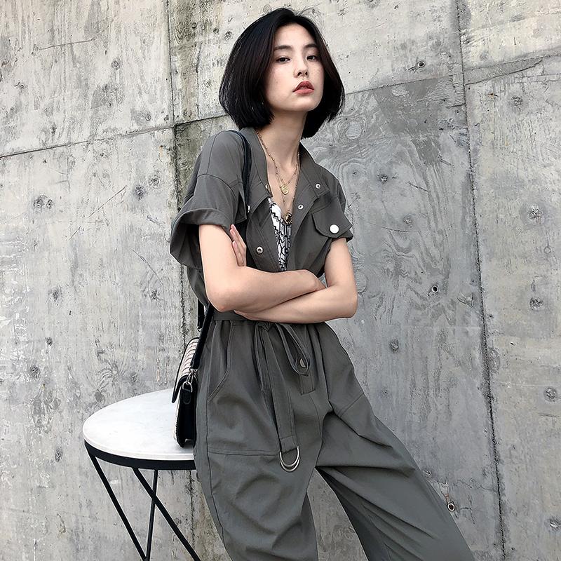 K家时尚工装连体裤女2020新款夏收腰显瘦宽松军绿色九分裤连衣裤