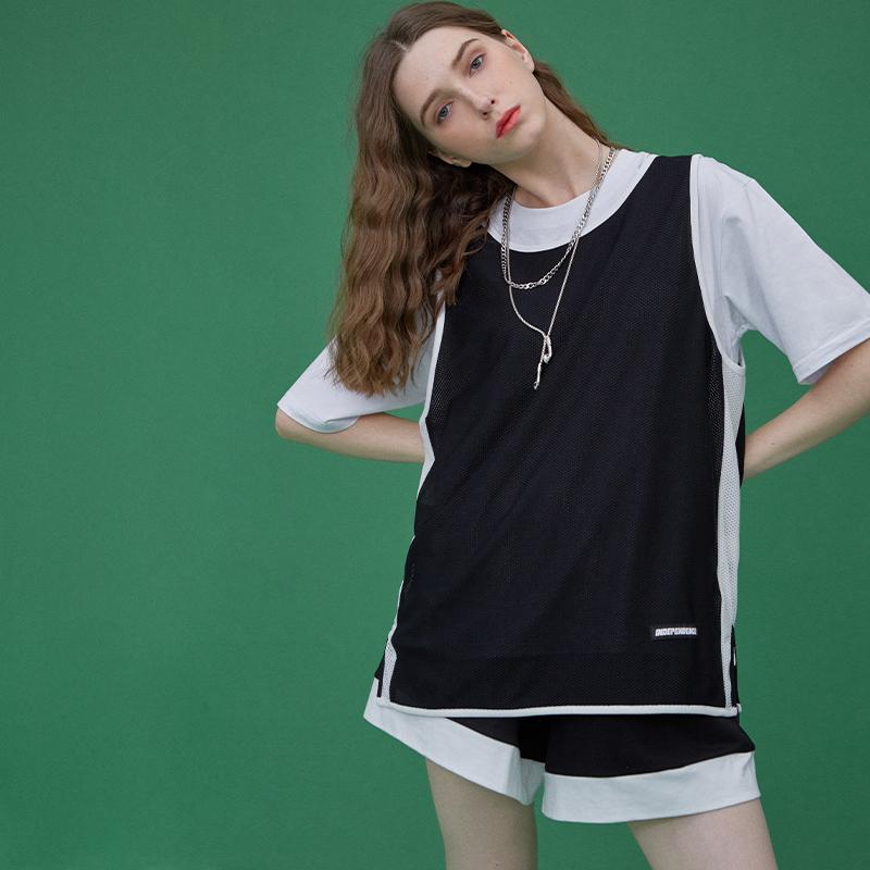 OG元素黑色篮球bf风工字型无袖运动背心女外穿宽松学生夏季薄款潮
