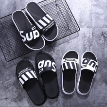 Korean version slippers for men in summer fashion wearing beach slip-proof soft sole one-word slipper 2019 new outdoor personality cool mop