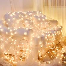 Red room decorated with INS bedroom decoration dormitory led small color lights flashing all over the sky