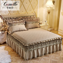 European-style cotton-clipped lace single-piece bed skirt with pure color and thick bedspread, bed cover, sheet, Simmons protective cover 1.8m