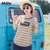 Msshe Plus taille vêtements pour femmes 2019 new summer fat MM striped loose short-sleefed pleated T-shirt M1905065