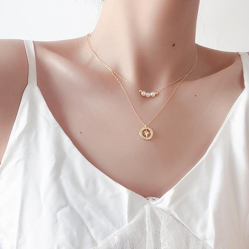 眼观925纯银三颗珍珠项链女锁骨链ins冷淡风简约气质短款颈链饰品
