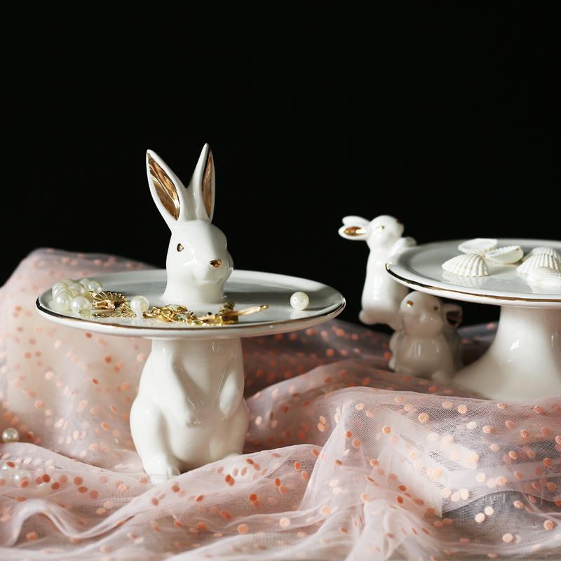 SXJ北歐創意描金兔子陶瓷碗瓜子干果糖果托盤首飾鑰匙裝飾擺件